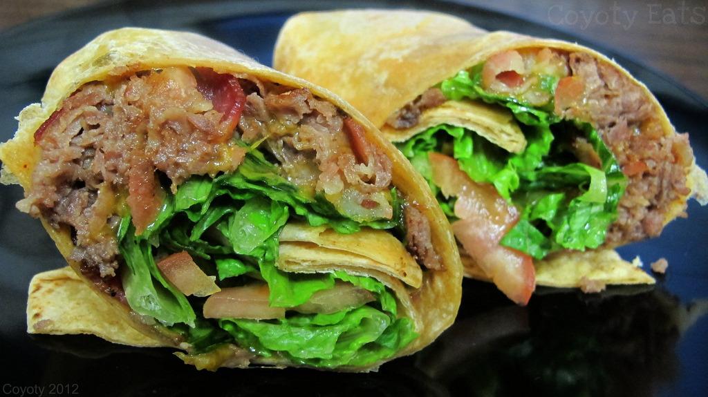 Bacon cheddar cheesesteak wrap (by Coyoty)