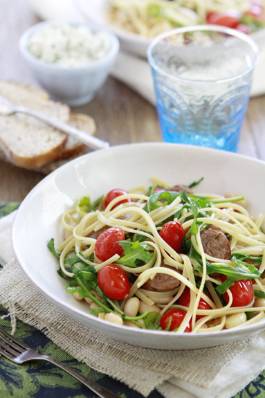 Pasta With White Beans, Tomatoes, And Sausage