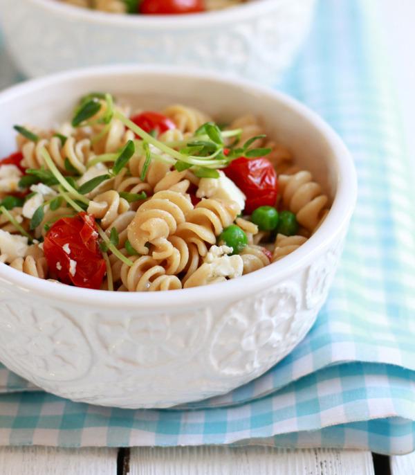 Whole Wheat Pasta Salad With Feta + Pea Shoots