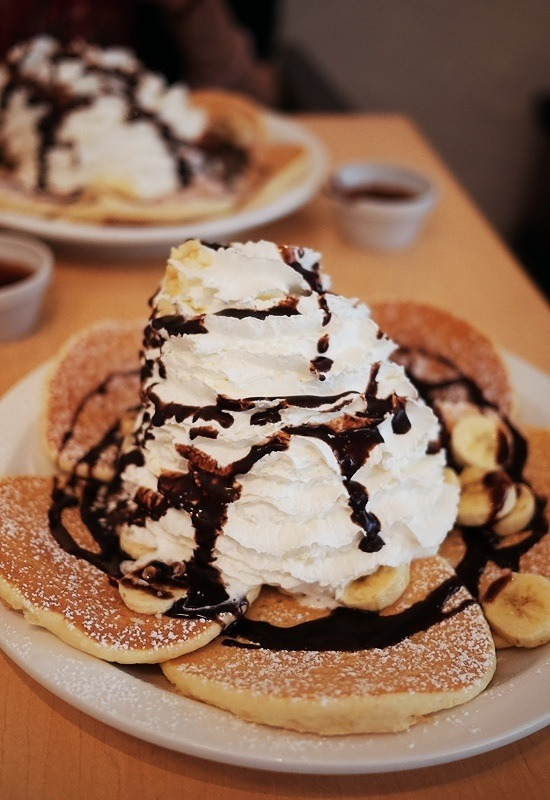 Banana Pancakes with Whipped Cream
