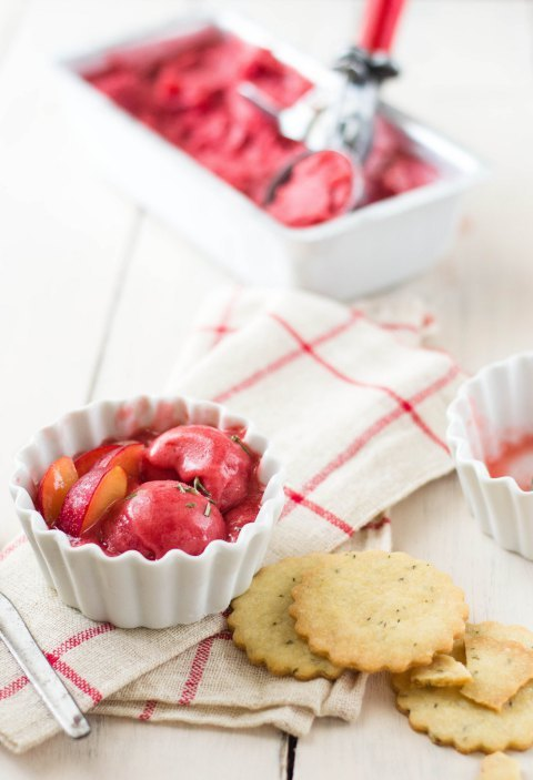 The White RamekinsPlum Sorbet with Rosemary Shortbread Cookies