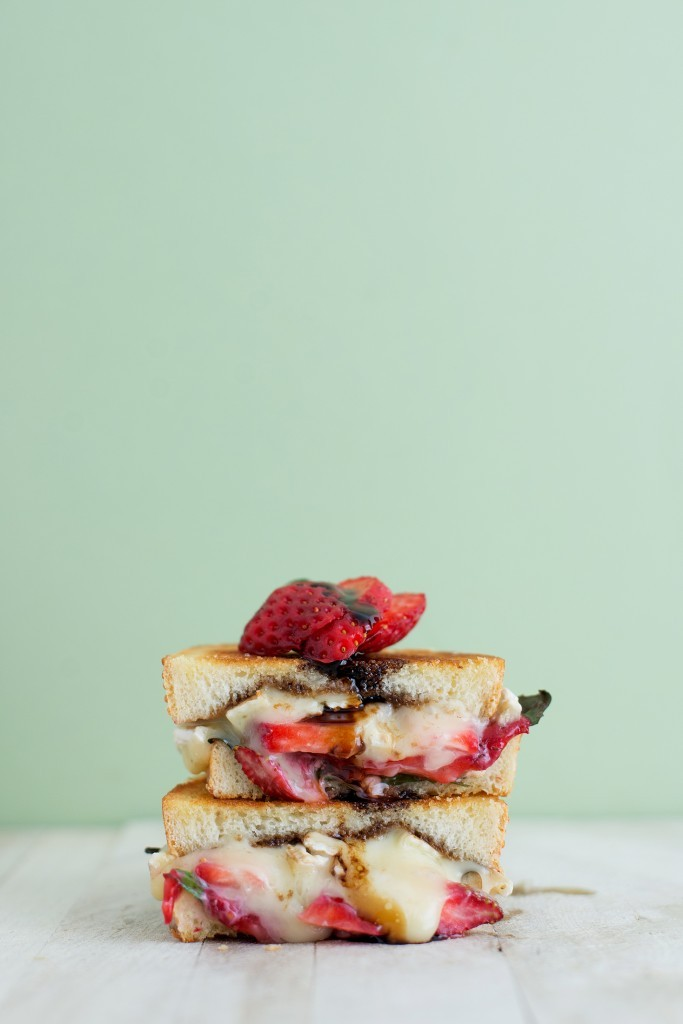 strawberry, basil, and brie grilled cheese