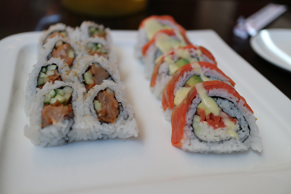 Spicy Tuna Roll and Smoked Salmon Roll
