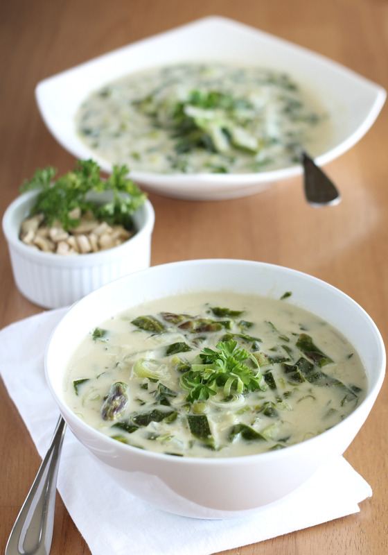 (via Cream of Asparagus Soup with Leeks and Collards)
