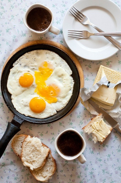 Eggs and bread with butter