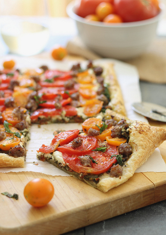 goat cheese, tomato, and sausage tart.