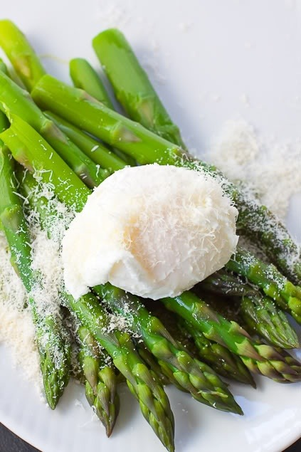 Asparagus with Poached Egg & Grated Pecorino (via Family Style Food)
