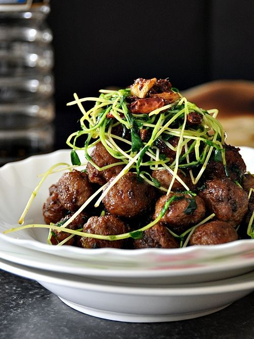 Lamb Meatballs with Sriracha and Snow Pea Sprouts (via Fuss Free Cooking)