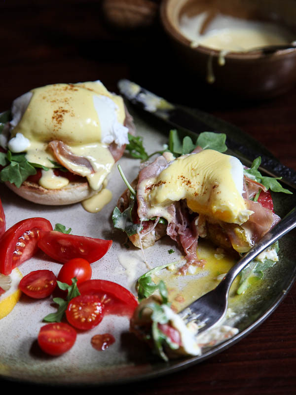 Arugula and Prosciutto Egg Benedict