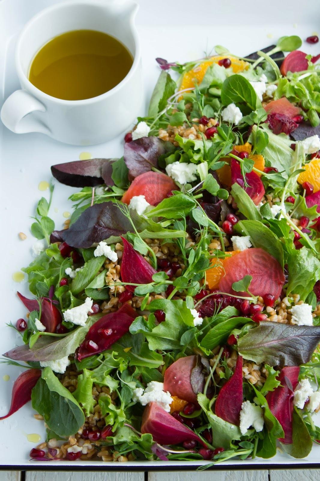 Spring Green w/Farro & Beet Citrus Salad Pink Patisserie