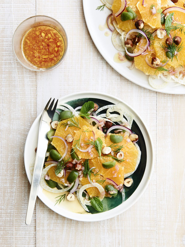 Orange, Fennel and hazelnut salad with green olives and fresh herbs Photographer