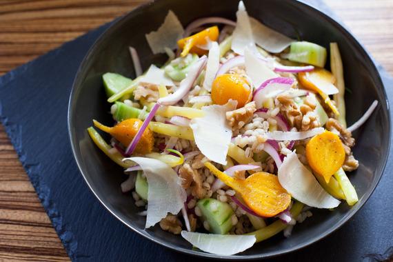 Barley-Wax Bean Salad with Golden Beets & Heirloom Cucumbers