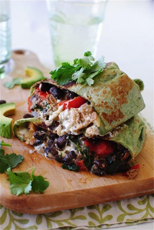 Chicken and Black Bean Burritos with Salsa Verde