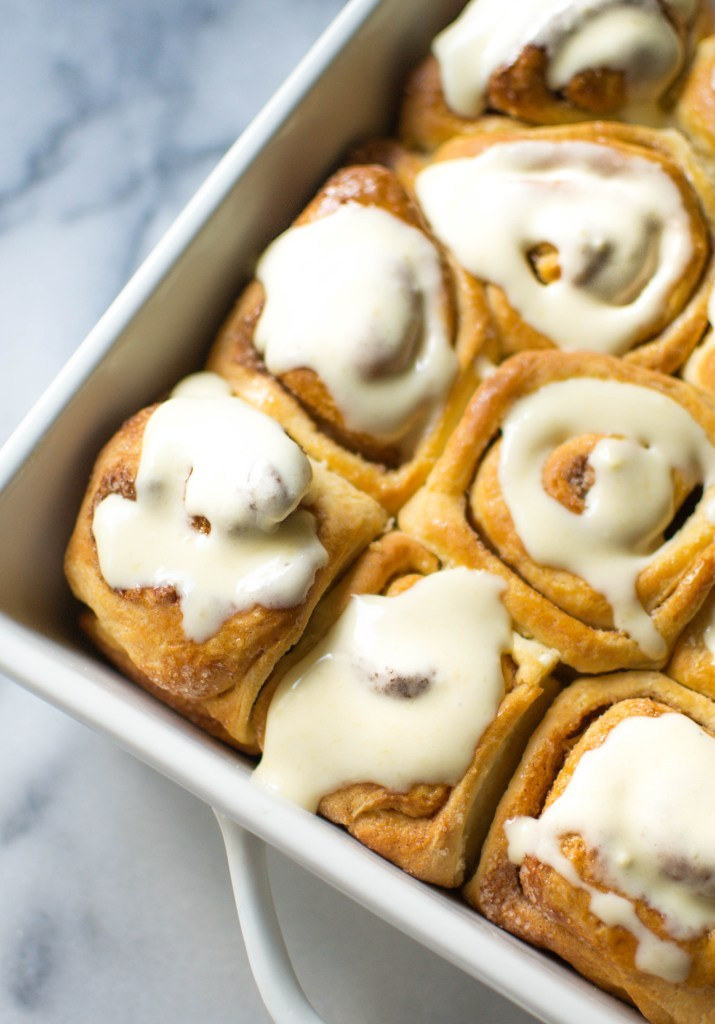 Cinnamon Rolls with Maple Cream Cheese Glaze