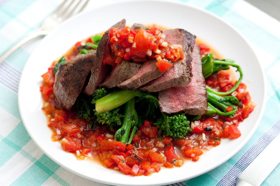 Steak with Salsa Rossa and Broccoli Rabe