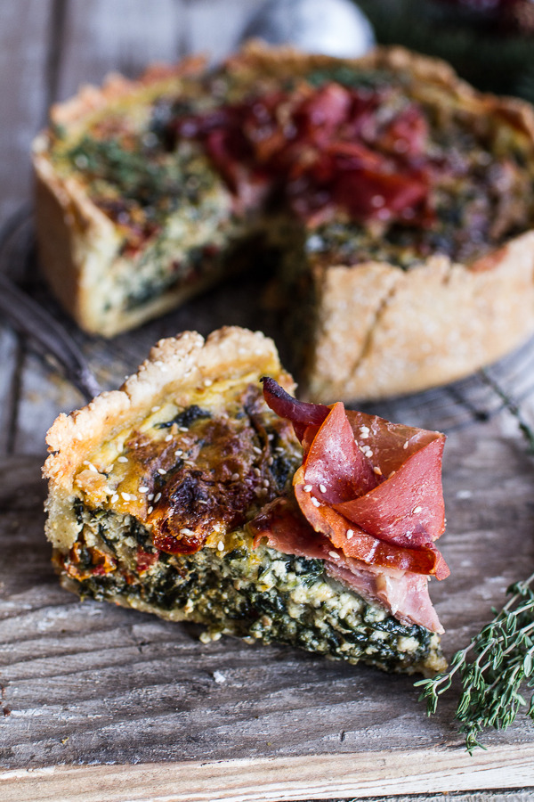 Deep Dish Spinach and Prosciutto Quiche