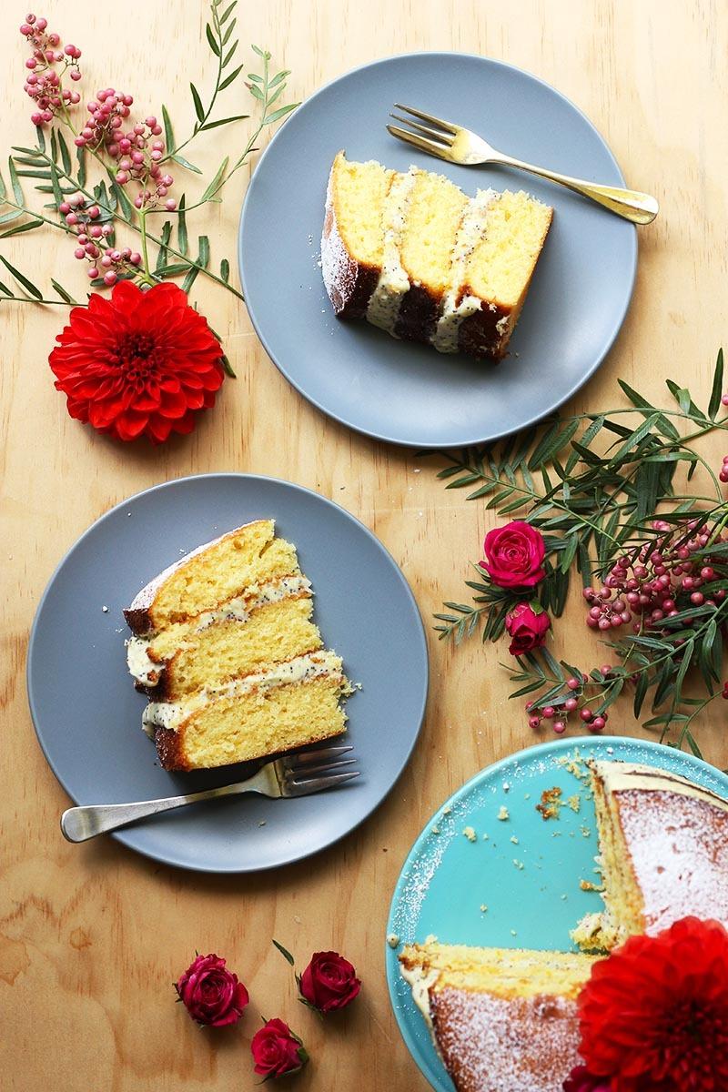 Orange Almond Cake w/Poppy Seed Cream Cheese Frosting The Sugar Hit