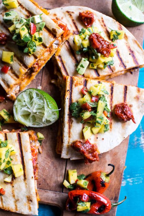 Fiesta Chicken Quesadillas with Chipotle Relish and Mango Salsa