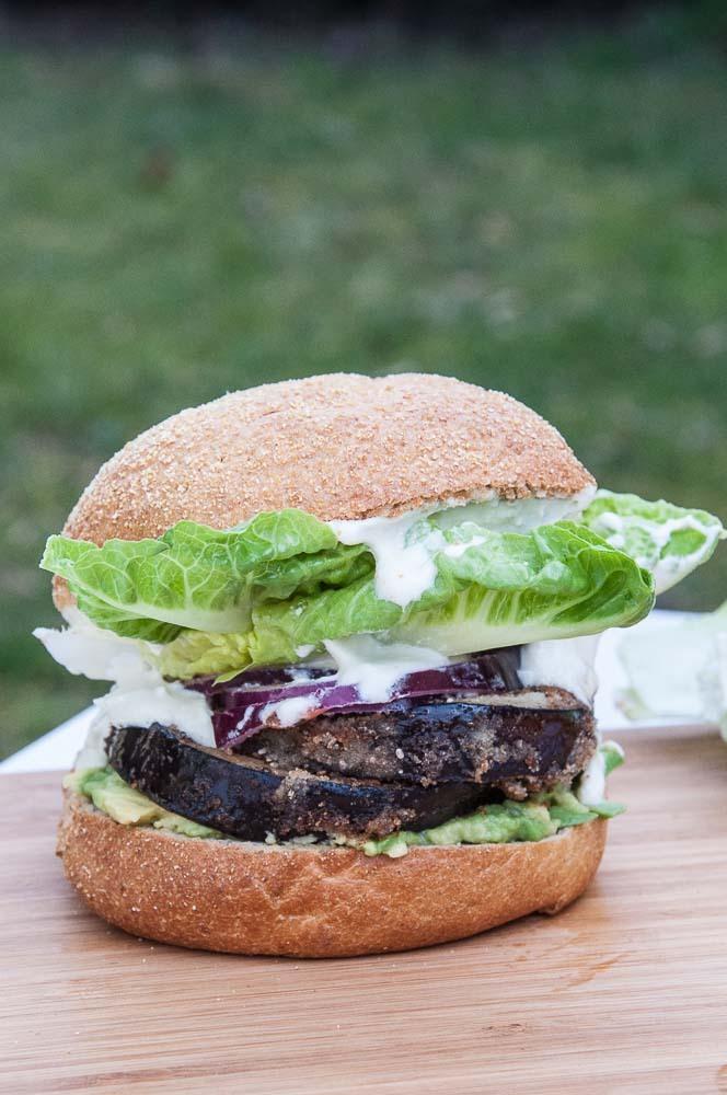 Chia Crusted Eggplant Burgers with Vegan Mayo (GF)
