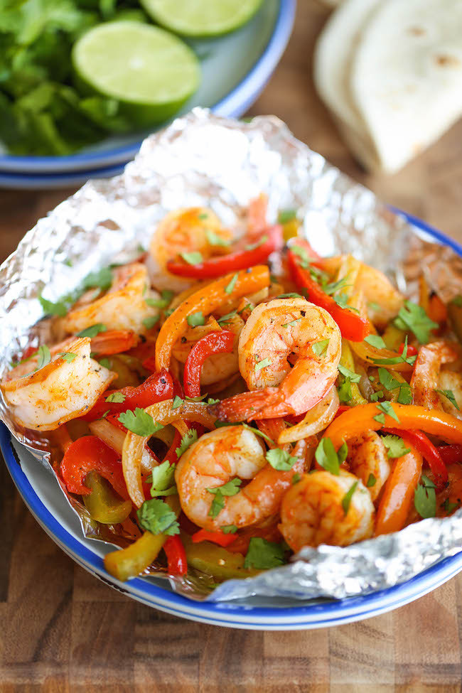 Shrimp Fajitas in Foil