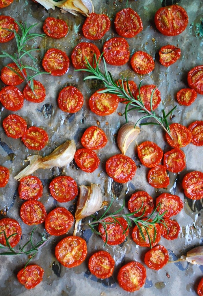 Garlic & Rosemary Slow Roasted Tomatoes Three Beans on a String